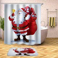 Navidad Baño Plato de ducha Set de alfombras de baño 75 * 45cm alfombras modernas Fixture Baños cortina en el baño