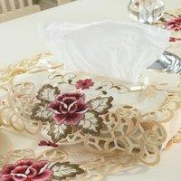 Boîtes de mouchoirs de tissus serviettes de boîte de dentelle brodée couvre-boîtes couvre-papier pompage pompage vintage style chambre table décoration cas de décoration