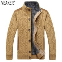 2020 Winter-neue Männer Dickes Fell Twist Sweatercoat Fest Farbe Pullover Männer Slim Fit gestrickte Wolle Oberbekleidung-Pelz-Strickjacke-Mantel