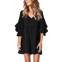 womens designerknee haute robe de couleur unie manchon de corne de sept points volants jupe 221179