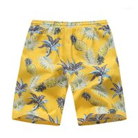 السراويل الذكور الرباط مستقيم فضفاض قصيرة المراهقين الأناناس طباعة مصمم رجالي شاطئ السراويل الصيف هاواي طول الركبة