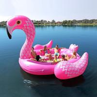 6-7 Person Aufblasbare Riesen Pink Flamingo Pool Float Großer See Float Aufblasbare Schwimminsel Wasserspielzeug Pool Fun Raft HHE1361