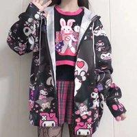 Японский Kawaii девушка Kuromi куртка Самодельный Cute Black Сладкие куртка весна JK Uniform Кардиган Harajuku Пальто и куртки Женщины 200919