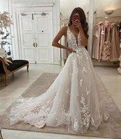2020 A Line Boho Bröllopsklänningar Illusion Deep V Neck Lace Applique Billiga Summer Beach Bridal Gowns Plus Size Vestidos de Noiva