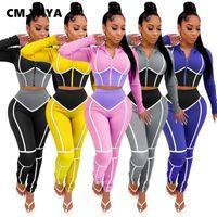 CM.YAYA Sportwear Patchwork Kadın Takımı Uzun Kol Fermuar Top Jogger Pant Seti Eşofman Spor İki Adet Kıyafetler Eşleştirme