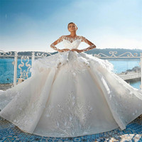 Luxury Wedding Dresses Tiered Feather Crystal Sequins Appliq...