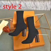 Lusso sagoma nera stivaletti donna autunno inverno scarpe sexy maglia stivali elasticizzati scarpe da donna progettista di grandi dimensioni ad alta signore di formato