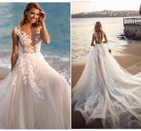 Feuille florale dentelle Boho Baech mariage Robes 2021 Illusion Jewel Neck mancherons Une ligne Robes de mariée PRÉCÉDENT longues robes de mariée AL3468
