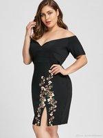 Größenkleider Casual Womens gestrickte Rock Deisgner Womens Kleid Mode gedruckt plus