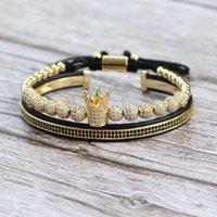 2Pcs Set New Fashion Crown Bracelet Men Women Classic Vintage 6mm Ball Beads Weave Charm Bracelet For Couple Bangle Male Jewelry