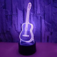 3D светодиодные ночные огни сенсорные пульты дистанционного управления гитара света атмосфера 3D визуальный свет семицветный маленький настольный светильник для вечеринок рождественский подарок