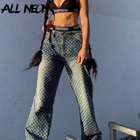 Allneon Y2K мода огорчены расслабленные прямые синие брюки хип-хоп демин высокая талия разорванные джинсы старинные уличные уличные 90s rave падение