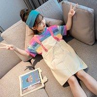 Девушки одеваются Outfit 2020 Новый хлопка лета детей способа Цвета радуги с короткими рукавами Одежда брекеты Юбка Два-Piece Set