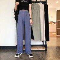 Pantalones de deporte Ropa de Mujer pantalones de Calle 2020 del verano del estilo de moda de Corea pierna ancha Harajuku holgada Negro de talle alto de la vendimia