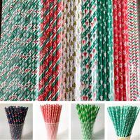 nouveau à usage unique papier potable Straws Sucker Noël Halloween Pailles à Boire de fête d'anniversaire de mariage Outils Bar écologique Straw D9711