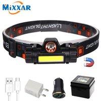 ZK20 fari a LED impermeabile Zoomable magnetica ricaricabile tramite USB XPE COB 2 Led COB faro incorporato 18650