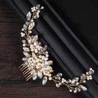 New Design Gold Wire Crystal Simulated Pearl Beads Hair Combs Headwear for Bridal Bride Wedding Veil Hair Jewelry Accessories