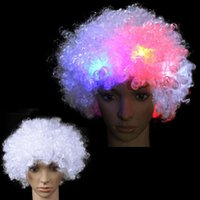 Chapeaux de fête incroyable LED lumière lumière clignotant afro wig wig cirque clown unisexe robe fantaisie football perruque de football Sport supporters cadeaux de Noël