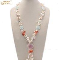 JYX 5-6mm weiß und Kaffee und rosa Süßwasserperlen, Schmuck Bule Stein Achat Oper Halskette Geschenk für Frauen