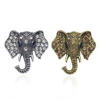 빈티지 라인 석 코끼리 브로치 청동 동물 브로치 여성용 남성 데님 정장 스웨터 칼라 핀 버튼 배지 브로버