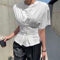2020 Le donne di modo di estate O del collo Croce Camicetta bianca tunica manica corta a vita alta Button Camicie signore dell'ufficio Camicie Tops