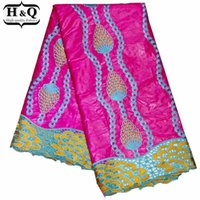 H&Q popular nigeria guipure lace bazin riche 100% cotton fabric embroidery african cord lace water soluble fabrics 5 yards piece