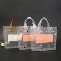 50pcs grossas grandes sacos de plástico com punho branco transparente Redonda Dots Gift Bag Roupa Jóias loja de compras Embalagem Sacos