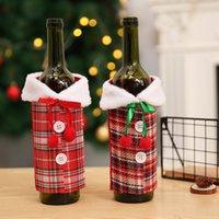 Neue Wein-Abdeckung mit Bogen-Plaid Leinen Flasche Kleidung mit Fluff 17 * 23cm Kreative Weinflasche Abdeckung Mode Weihnachtsdekoration CYZ2766 200Pcs