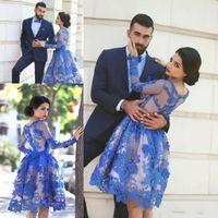 Royal Blue Robes de soirée à manches longues de longueur genou 3D floraux bijou robe 2021 Appliques de retour à la maison de bal du cou De Festa Vestido