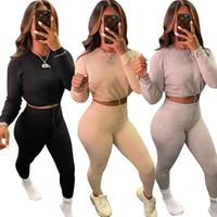 Sportwear lavorato a maglia Womens Set manica lunga pantaloni di Legging Set Tuta corrispondenza due pezzi Outfit attivo Sweatsuit