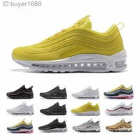 Nike Air Max 97 Airmax Melhores SW 97 Sean Wotherspoon Sapatos 97s Enxofre Vivid Multi Blue Amarelo híbrido Running Shoes 2019 Womens Botas New Mens Tamanho CP2D8