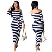 Womens Dresses Fashion Sexy Slash Neck Bind Womens Dresses C...