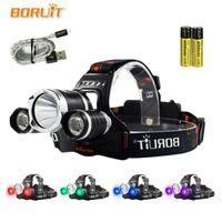 Boruit UV 5000LM T6 LED Faro de 3 modos Faro de alta potencia Luz púrpura para la pesca para acampar 18650 Torja de la cabeza de la batería 4 Color