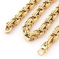 Granny Chic Нового дизайна Мужских украшения Золота Цвет 15ммы 8 «-40» из нержавеющей стали Огромных тяжелых византийских цепей ожерелье или браслет