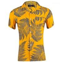 Рукав Сыпучих мужских праздников Tops лето Hawaii отворот шея мужских рубашек листы напечатали короткие
