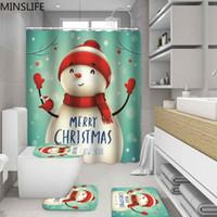 Bonne année bonhomme de neige Motif salle de bains avec douche Ensemble rideau et tapis toilettes Tapis de bain et fête de Noël Décoration de Noël