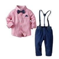 Çocuk Giyim Erkek Giysileri Setleri Çocuk Toddler Erkek Gömlek + Parantez Pantolon Giysi Kıyafetler Bebek Dolunay Beyefendi Kostüm Takım Elbise