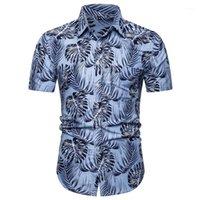 Повседневная одежда Mens лист Печать Гавайские рубашки лето Дизайнер нагрудные Шея короткая пляж рукавом Человек Сыпучие