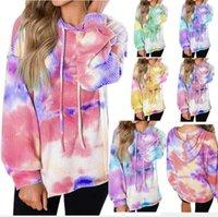 Галстук окрашенной Печати Перемычки Женская мода O-образный вырез Толстовка с длинным рукавом Верхней одежды пуловер Женской Блуза Топ Lady Повседневных Сыпучие Sweatershirt LSK1236
