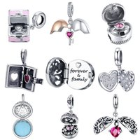 BISAER 925 Sterling Silver Love Box Circle Cage Forever Love Heart Box Pendant Beads fit Charms Bracelet Silver 925 Jewelry