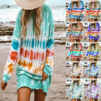 Женская одежда Плюс размер платья Галстук окрашенная Блуза толстовки платья Градиент длинным рукавом длиной до колен юбка Повседневный пуловер футболки продажа D9801
