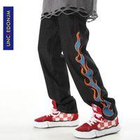 UNCLEDONJM Alev İşlemeli Jeans Erkek Koyu Moda Marka Hip-hop Sokak Pantolon High Street Moda Denim Jeans ED-AC02