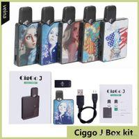Autêntica Ciggo J Box POD 350MAH Portable Vape Mod Starter Kit com 0.6ml Cartucho de Bobina Cerâmica Compatível Bateria JBoT