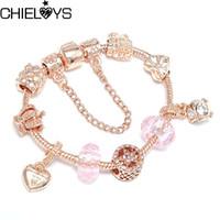 Браслеты очарования Chieloys Мода кристалл для женщин розовый золотой бренд браслеты ювелирных изделий браслет