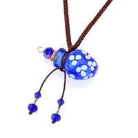 YingWu Blue Murano Glass Small Colorful oil ashes urn bottle cork pendant vial Necklace