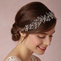 Clip de flores de cristal granos de la perla de la horquilla del pelo del cordón de almacén para los accesorios del pelo nupcial de las mujeres Jewelryps1902