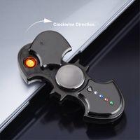 New Creative Batman Fidget Spinner USB électronique Plasma LED Briquet variétés drôle cigarette Lumière Briquet Spinning Toy Gadgets pour les hommes