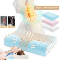 Memoria de almohadas de espuma cama ortopédica masaje almohada para dormir cuello alivio del dolor cervical de bambú almohadas de la cama Dropshipping