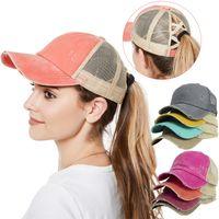 Pamuk Snapback Yıkanmış 11 renk Criss çapraz at kuyruğu Şapka Dağınık Bun Yaz Güneşlik Açık beyzbol şapkası Parti şapka BJJ664 Caps