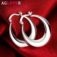 Hoop Huggie Aglover 30mm 925 Sterling Silber Fett Runde Glatte U Große Ohrringe für Frauen Mode Hochzeit Engagement Schmuck Geschenke